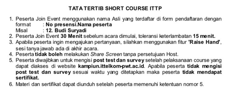 Peraturan peserta dalam mengikuti short course