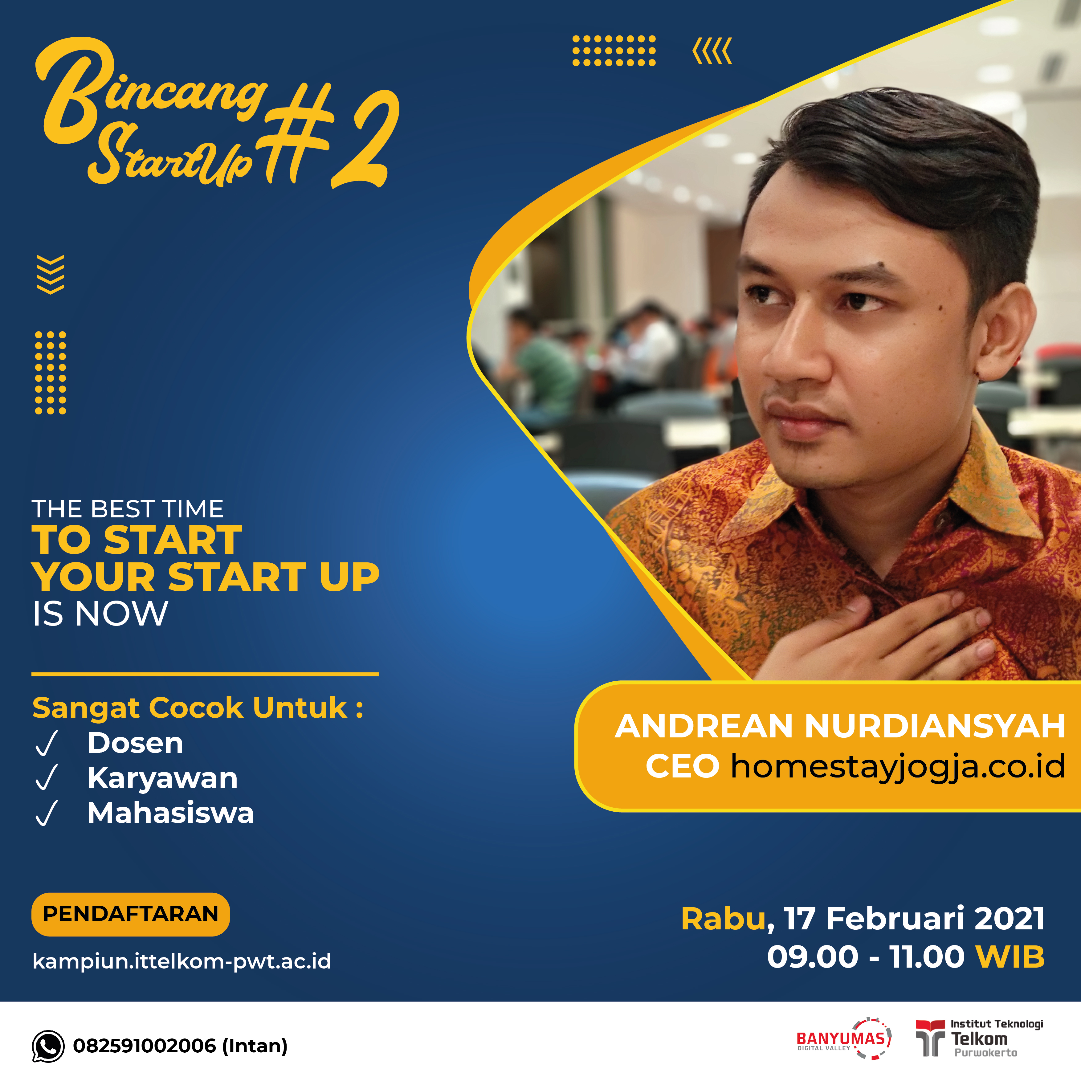 Bincang Start Up #2 : The Best Time to Start Your Start Up Is Now