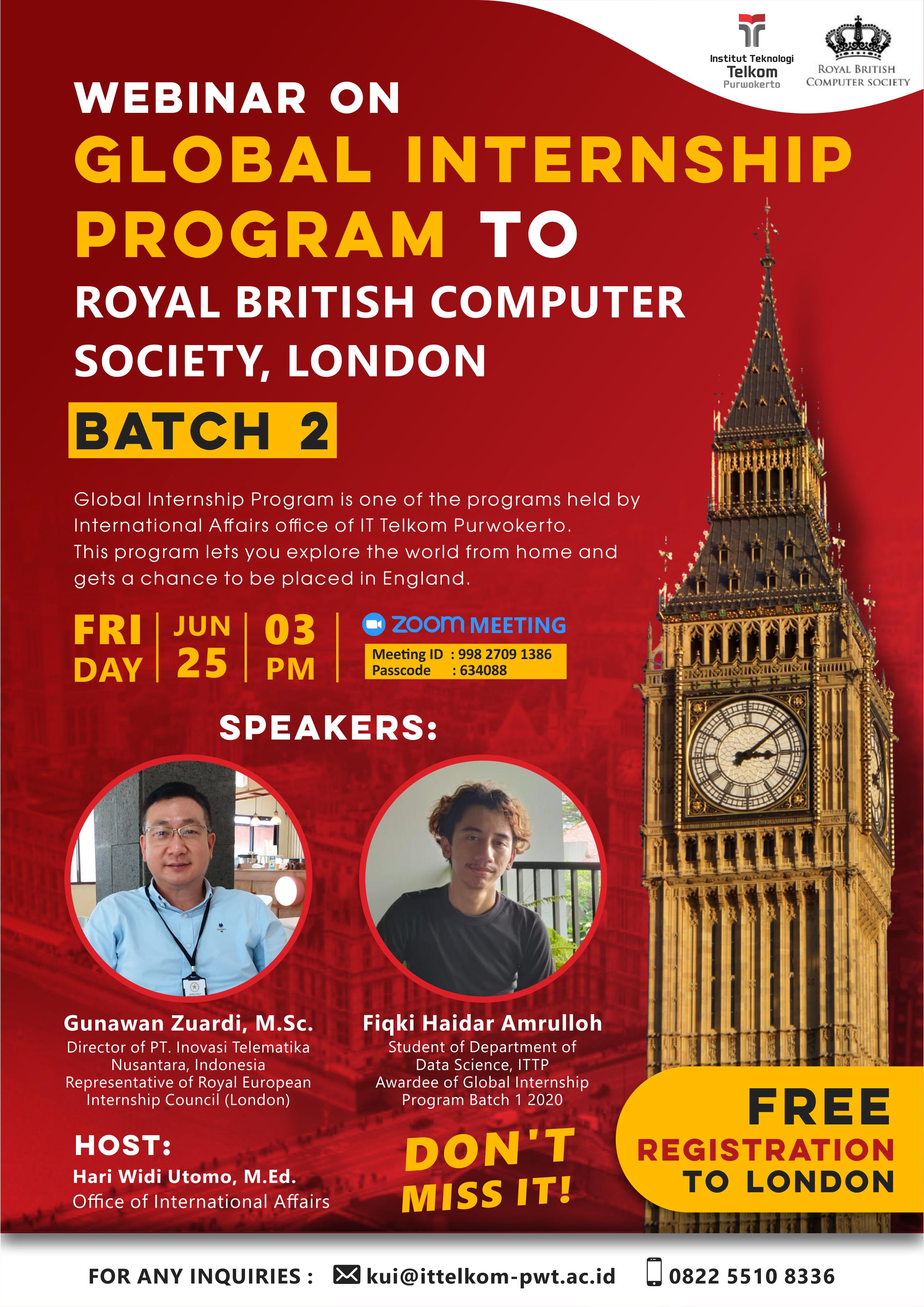 Webinar on Global Internship Program to Royal British Computer Society, London